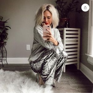 Sequin wide leg pants